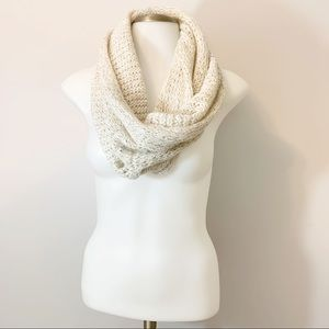 Abercrombie & Fitch Cream Gold Knit Infinity Scarf